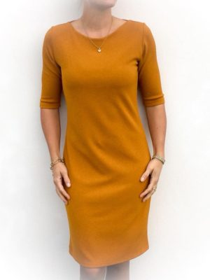 Ella Button Dress Mustard